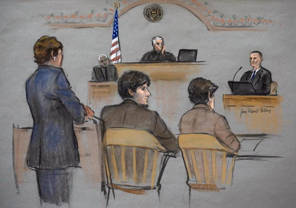 Bill Richard (right) is depicted in a courtroom sketch while testifying during the federal death penalty trial of Dzhokhar Tsarnaev.